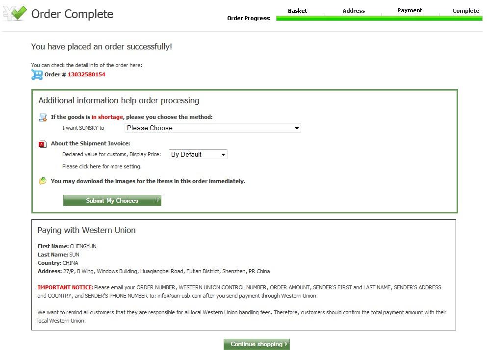 sunsky online com китайский онлайн магазин с платной доставкой  Реквизиты для оплаты через wester union money gram или банковский перевод