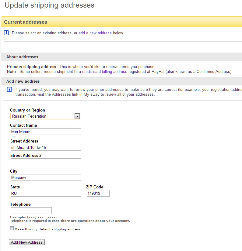 ebay how to change primary shipping address